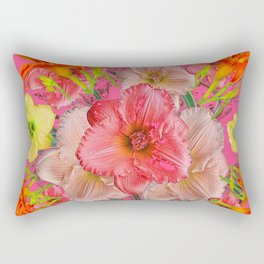 YELLOW PINK & CREAM DAYLILIES COLLAGE Rectangular Pillow