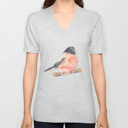 Clarence the Bullfinch Unisex V-Neck