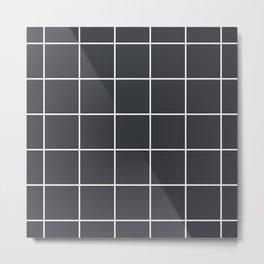 Minimal grid pattern on dark lava Metal Print
