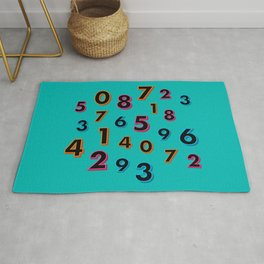 3D neon numbers on teal Rug