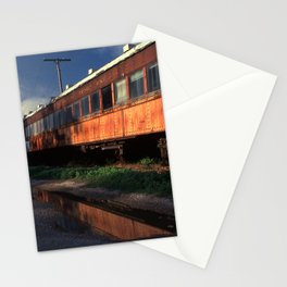 Rusted rail passenger cars, French Lick, Indiana Stationery Cards