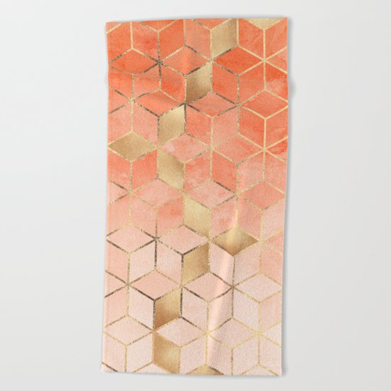 Soft Peach Gradient Cubes Beach Towel