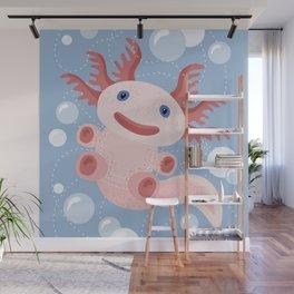 Cute Axolotl and The Bubbles Wall Mural