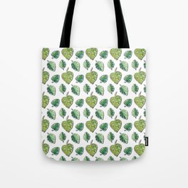 Monstera Green Jungle Leaves pattern_Hand Painted watercolour & ink & gouache Tote Bag