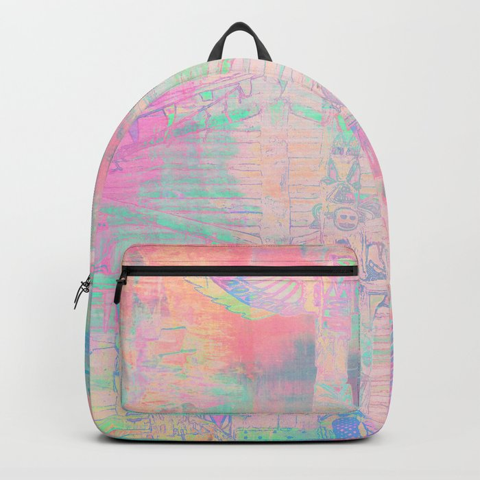 Totem Cabin Abstract - Pastel Backpack