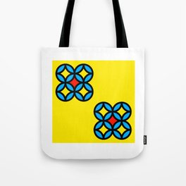 Colored Circles on Yellow Board Tote Bag