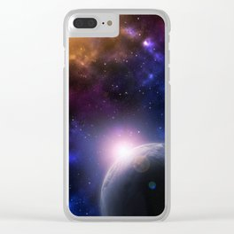 Colorful Journey In Space Clear iPhone Case
