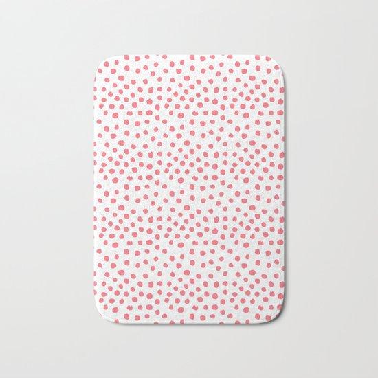 Coral dots pattern minimal painted polka dots Bath Mat