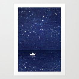 Zen sailing, ocean, stars Art Print