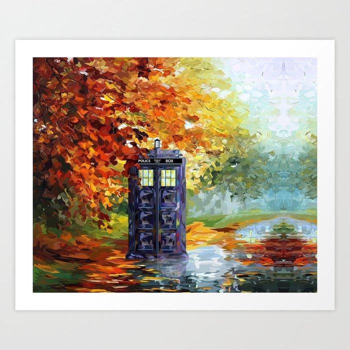 starry Autumn blue phone box Digital Art iPhone 4 4s 5 5c 6, pillow case, mugs and tshirt Art Print
