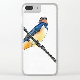 Swallow Bird On A Wire Clear iPhone Case