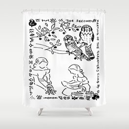 The Second Meeting of the Gardener's Club  (two of clubs with kestrels) Shower Curtain