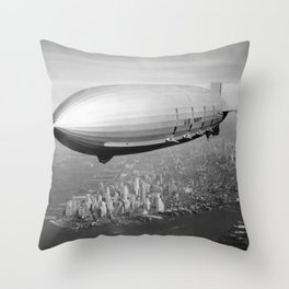 Airship Flying Over New York City Throw Pillow