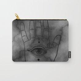 Hamsa Horus Eye Gray Marble Carry-All Pouch