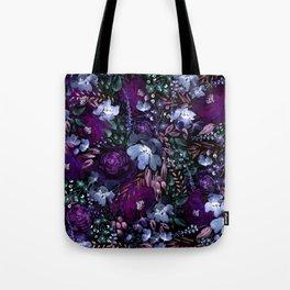 Deep Floral Chaos blue & violet Tote Bag