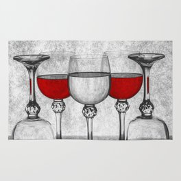 Still life with glass glasses with wine Rug