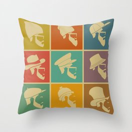 colorful Icons man in a headdress hat Throw Pillow