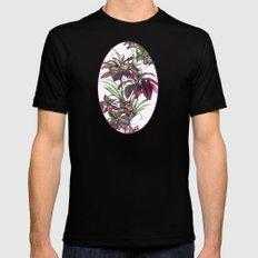 Tropical Leaves Sing Mens Fitted Tee MEDIUM Black