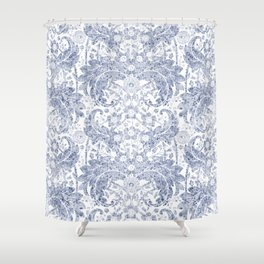 "Blue watercolor flower design ""Beata"" Shower Curtain"
