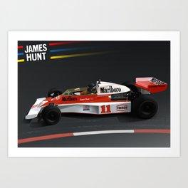 James Hunt McLaren F1    Car   Automotive   Formula One Art Print