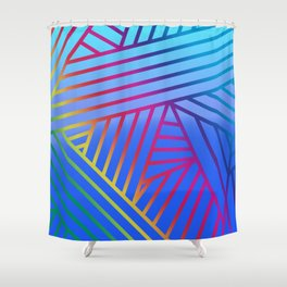 Rainbow Ombre Pattern with Blue Background Shower Curtain