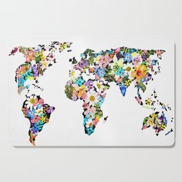 Floral World Map Cutting Board