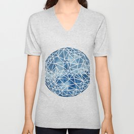 Whole Fractal Marble Blue Unisex V-Neck
