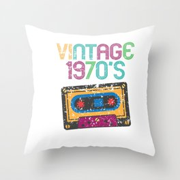 Vintage 1970's Funny Cassette Retro Throw Pillow