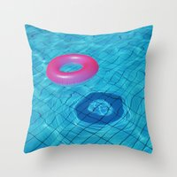 pool Throw Pillows featuring Pool by Lama BOO