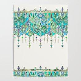 Art Deco Double Drop in Jade and Aquamarine on Cream Poster