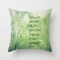 jane eyre Throw Pillows featuring Present and Future Jane Eyre Quote by KimberosePhotography