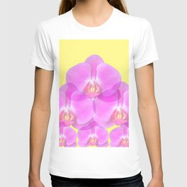 TROPICAL PINK ORCHIDS & YELLOW FLORAL ABSTRACT T-shirt
