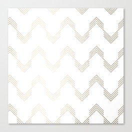 Simply Deconstructed Chevron White Gold Sands on White Canvas Print