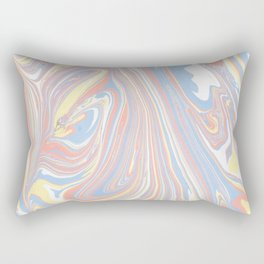 Abstract modern coral white yellow blue watercolor marble Rectangular Pillow