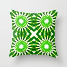 Serene Green Pinwheel Flowers Throw Pillow