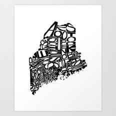 Typographic Maine Art Print