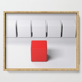 Line of white cubes in front of a red one - 3D rendering Serving Tray