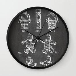 Legos Patent - Block Man Art - Black Chalkboard Wall Clock