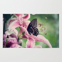 Butterfly & Lily Pink Photograph I Rug