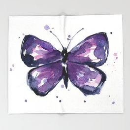 Purple Butterfly Watercolor Abstract Animal Art Throw Blanket