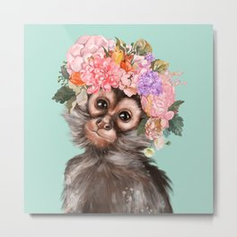 Baby Monkey with Flower Crown Metal Print