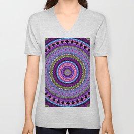purple feathers Mandala Unisex V-Neck