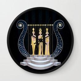 "Art Deco 1920's Illustration ""Lyre"" Wall Clock"