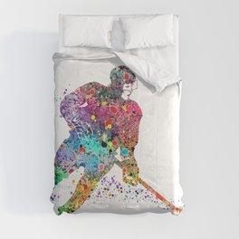 Girl Ice Hockey Sports Art Comforters