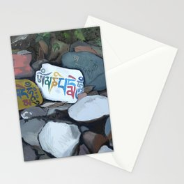 Om Mani Padme Hum on Stone painting Stationery Cards