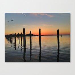 West End Boat Basin Sunset Canvas Print