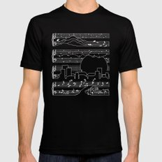 The Moonlight Sonata Blue SMALL Black Mens Fitted Tee
