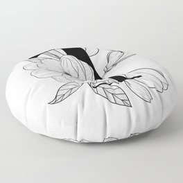Monogram Letter T with Magnolia Line Art  Floor Pillow