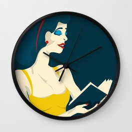 the reading woman in yellow dress Wall Clock
