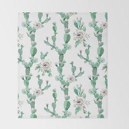 Cactus Rose Climb on White Throw Blanket